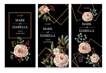 Wedding invitation with English roses, eucalyptus, flowers and golden elements in watercolor style. Ilustracje wektorowe