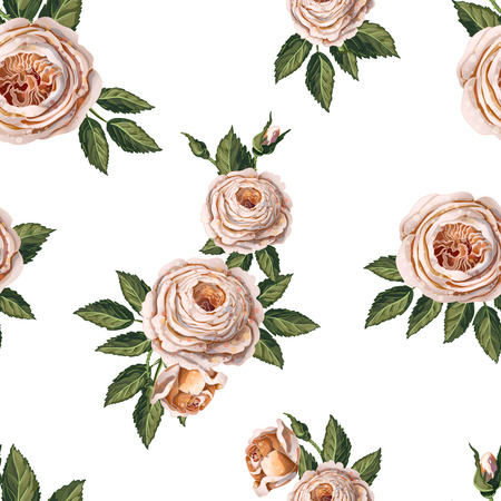 Seamless pattern with English roses on a blue background.