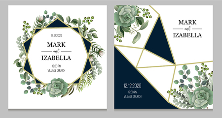 Wedding invitation with leaves, succulent and golden elements in watercolor style. Eucalyptus, magnolia, fern and other