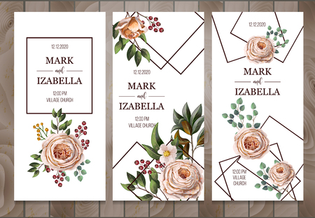 Delicate wedding invitation with English roses, eucalyptus, flowers and frames in watercolor style.