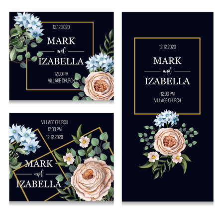 Wedding invitation with English roses, eucalyptus, flowers and golden elements in watercolor style.
