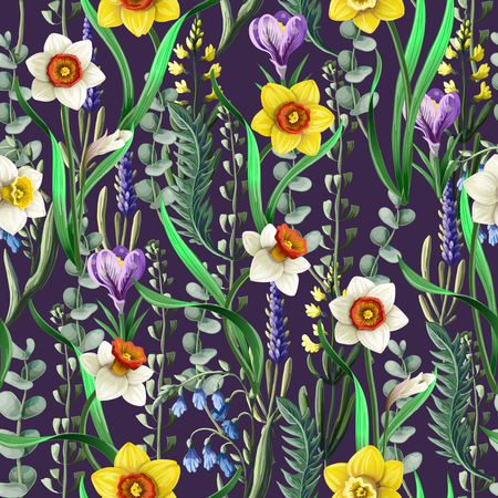 Nahtloses Muster mit Narzissen und wilden Blumen. Vektorgrafik