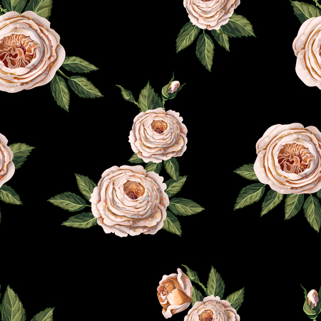 Seamless pattern with English roses on a black background.