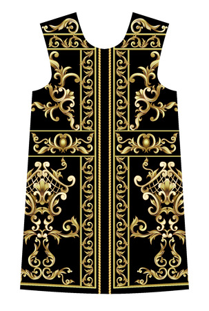 Design dress with golden baroque elements.