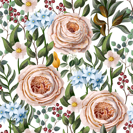Seamless pattern with English roses and other flowers in vintage victorian stlyle.