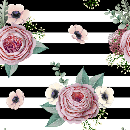 Seamless pattern with victorian roses, anemones, eucalyptus and other branches. Ilustracja