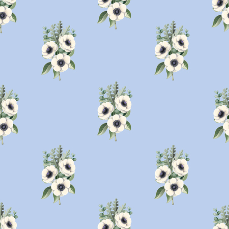 Seamless pattern with anemone flowers.