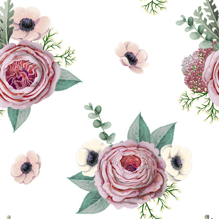 Seamless pattern with victorian roses, anemones, eucalyptus and other branches. Foto de archivo - 127704956