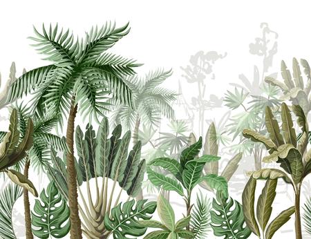 Bordo senza soluzione di continuità con alberi tropicali come palme, banane.