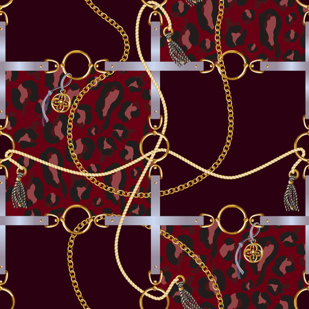 Seamless pattern with belts, chain and braid for fabric design. Vector. Foto de archivo - 126932718