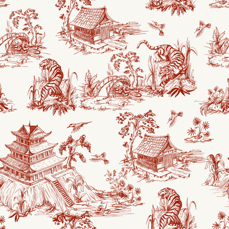 Seamless pattern in chinoiserie style for fabric or interior design Çizim