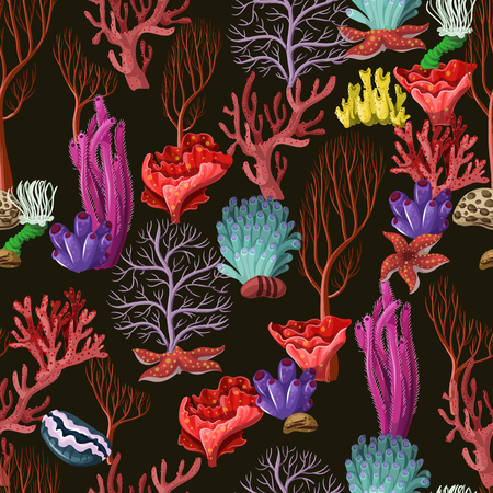 Seamless pattern with sea inhabitans and herb Vettoriali