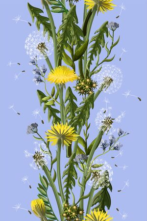 Seamless borser with dandelion and wild flowers