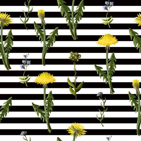 Seamless pattern with dandelion and wild flowers Foto de archivo - 127740232