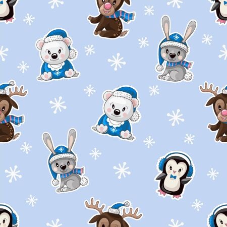 Seamless pattern with cute baby animals on Christmas wear. Vector Foto de archivo - 128607471