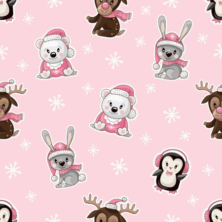 Seamless pattern with cute baby animals on Christmas wear. Vector Foto de archivo - 128607472
