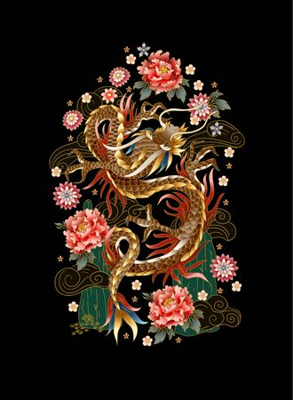 Chinese traditional dragon, peonies and sakura. vector. Иллюстрация