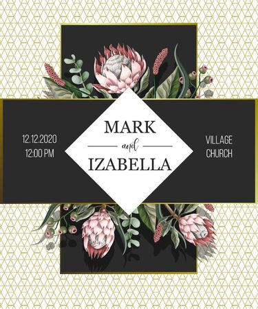 Wedding invitation with leaves, protea flowers, succulent and golden elements in watercolor style. Illusztráció