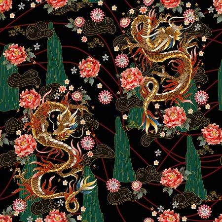Seamless pattern with Chinese traditional dragon, peonies and sakura. vector.