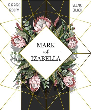 Wedding invitation with leaves, protea flowers, succulent and golden elements in watercolor style. Иллюстрация