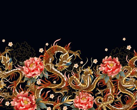 Border with Chinese traditional dragon, peonies and sakura. vector.