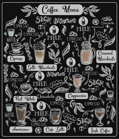 Coffee menu with different drinks. Vector.