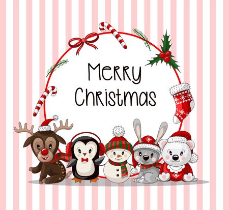 Postcard with cute baby animals on Christmas wear. Vector