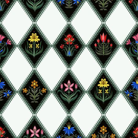 Seamless pattern with little flowers for fabric or interior design Illustration