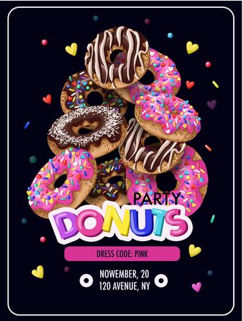 Invitation for donuts party, flyer. Vector.