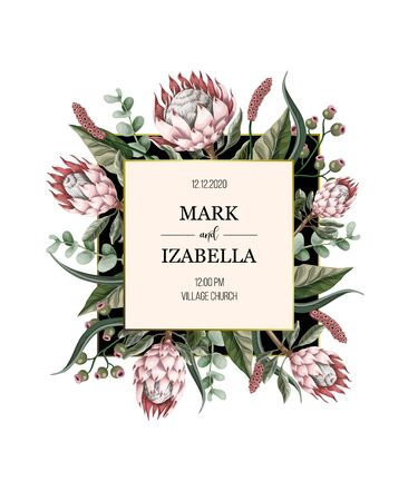 Invitación de boda con hojas, flores de protea, elementos suculentos y dorados en estilo acuarela. Ilustración de vector