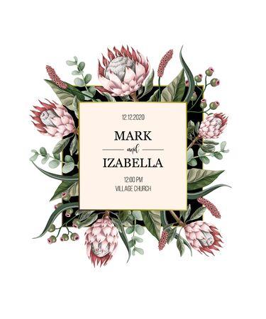 Invitation de mariage avec des feuilles, des fleurs de protéa, des éléments succulents et dorés dans un style aquarelle. Vecteurs