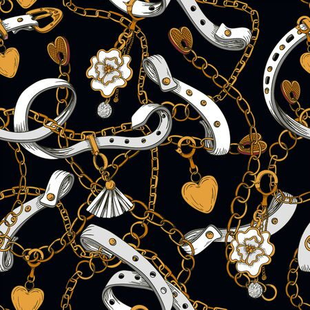 Seamless pattern with belt and chain. Vector.
