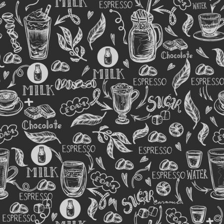 Seamless pattern with coffee cups. Vector