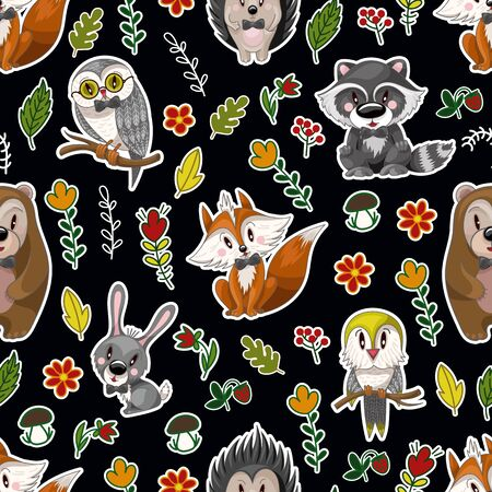 Seamless pattern with cute baby animals andflowers for kids. Bear, raccoon, rabbit, fox and other.
