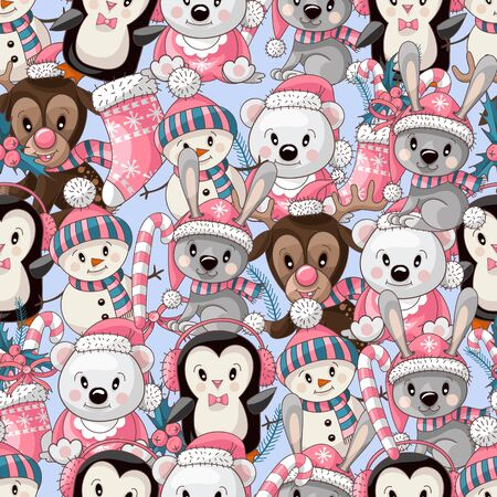 Seamless pattern with cute baby animals on Christmas wear. Vector.