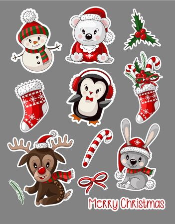 Stickers cute baby animals on Christmas wear. Vector.
