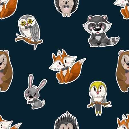 Seamless pattern with cute baby animals for kids. Bear, raccoon, rabbit, fox and other. Illusztráció