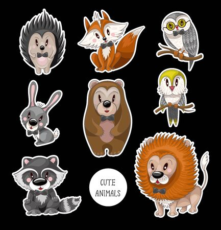 Set cute baby animals for kids. Bear, raccoon, rabbit, fox and other.