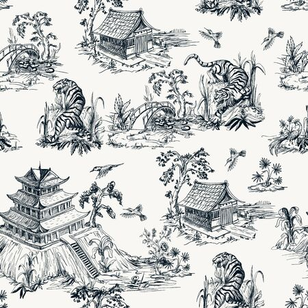 Seamless pattern in chinoiserie style for fabric or interior design. Illusztráció