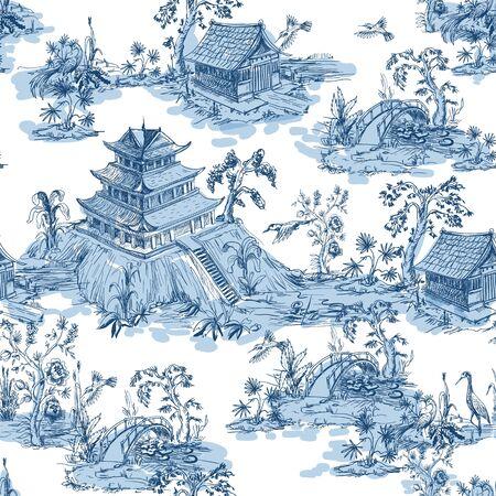 Nahtloses Muster im Chinoiserie-Stil für Stoff oder Innenarchitektur.