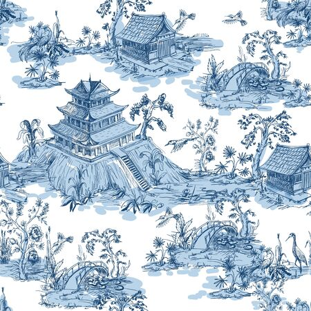 Seamless pattern in chinoiserie style for fabric or interior design. Illustration