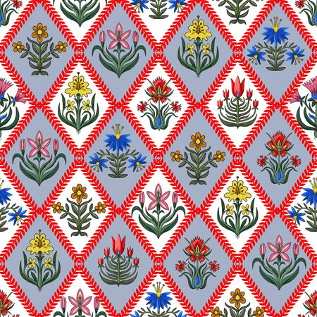 Seamless pattern with little flowers for fabric or interior design. Illustration