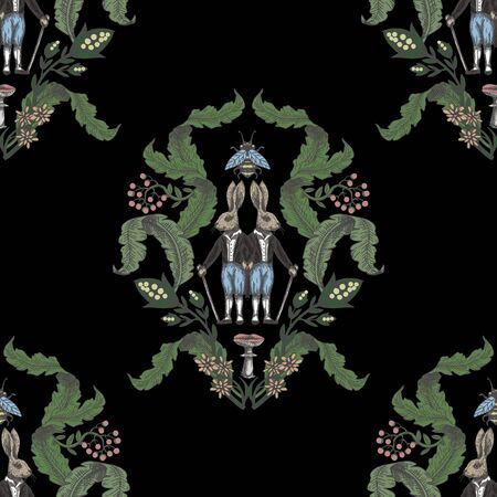 Fairytale graphic seamless pattern with forest animals and flowers