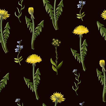 Seamless pattern with dandelion and wild flowers Illusztráció