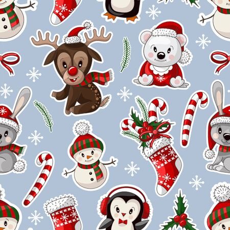 Seamless pattern with cute baby animals on Christmas wear. Vector