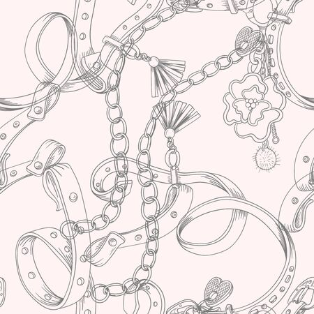 Seamless pattern with belt and chain. Vector  イラスト・ベクター素材
