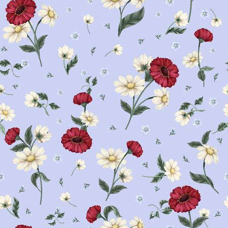 Seamless floral pattern with ditsy flowers. Vector.