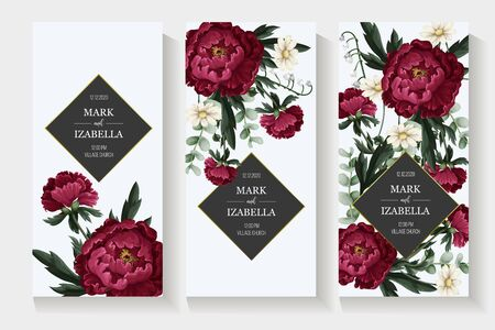 Wedding invitation with burgundy . peonies. Vector.