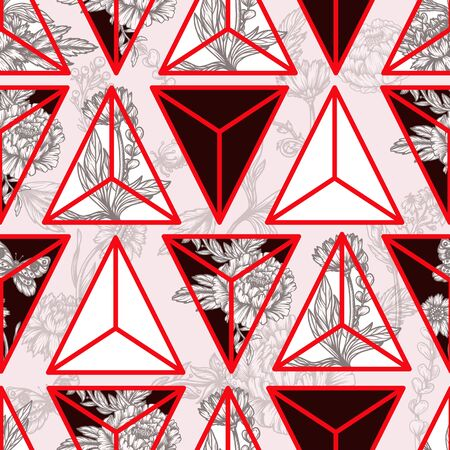 Seamless floral pattern with graphic flowers and triangles. Vector.