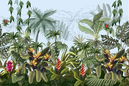 Bordo senza soluzione di continuità con alberi e fiori della giungla. Vettore